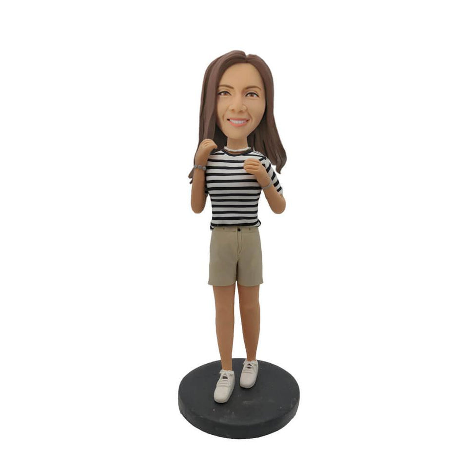 Gray Short Pants Leisure Girl Custom Bobblehead