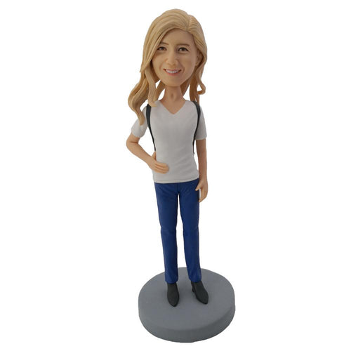 White Shirt Leisure Girl Custom Bobblehead