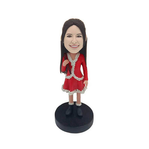 Christmas Short Skirt Lady Custom Bobblehead