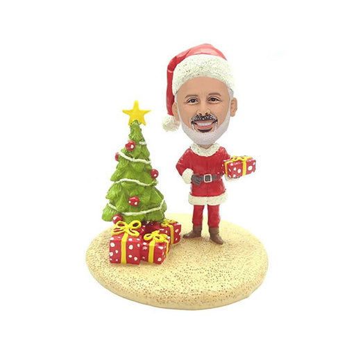 Santa With Tree For Men Custom Bobblehead