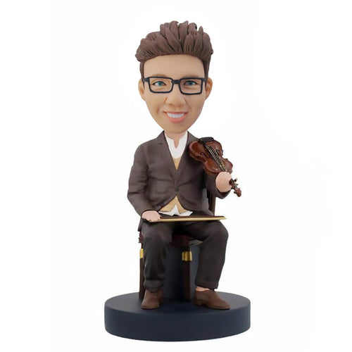Violin man sitting in a chair custom bobblehead
