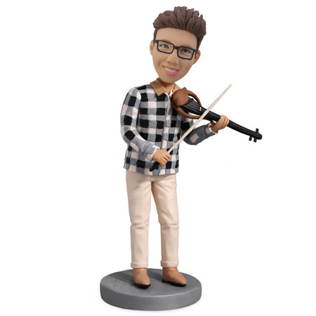 Violin man in plaid dress custom bobblehead