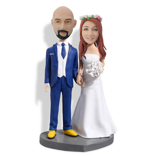 Blue Suit Bridegroom Couple Bobblehead
