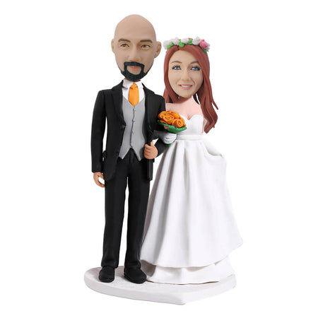 Holding Yellow Flower Couple Bobblehead