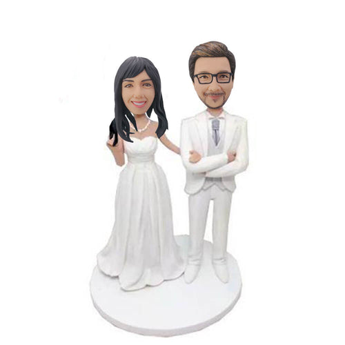 White Suit Wedding Couple Bobblehead