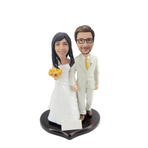 Holding Flower White Suit Couple Bobblehead
