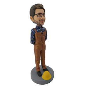 Brown Suit Construction Worker Bobblehead