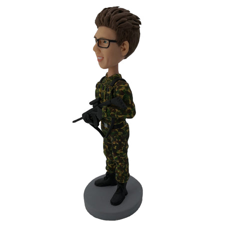 Holding Assault Gun Soldier Bobblehead