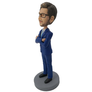 Crossed Hands Businessman Bobblehead