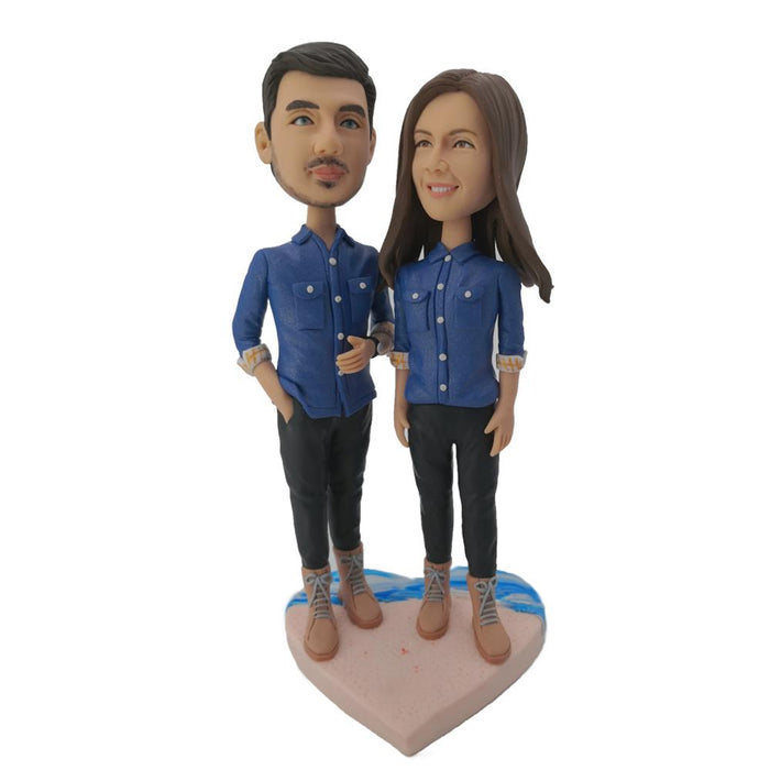 Wearing Jeans Couple Custom Bobblehead