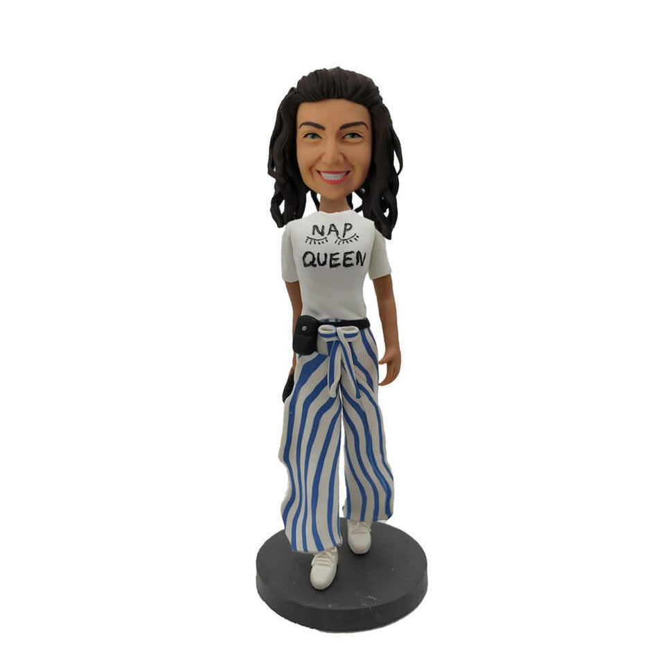 Lady in Colorful Long Pants Custom Bobblehead