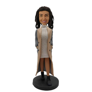 Lady in Thick Coat Sweater Custom Bobblehead