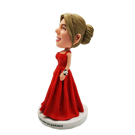 Beautiful Girl in Red Skirt Customized Bobblehead