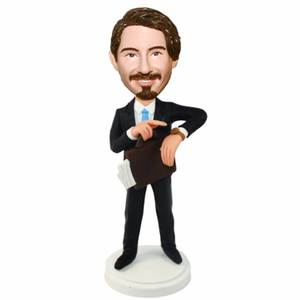 Business Office Man Looking At His Watch Custom Figure Bobblehead