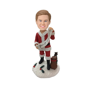 Christmas Gift Male with Merry Christmas Banner Custom Bobblehead