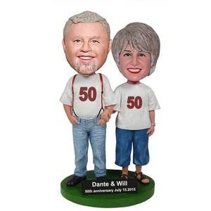 Digital Customizable Anniversary Couple Custom Figure Bobblehead
