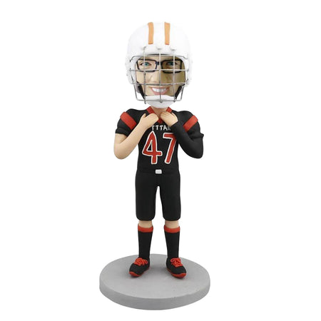 FOOTBALL PLAYER WITH HELMET BOBBLEHEAD