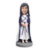 Graduation girl in blue cloak custom bobblehead