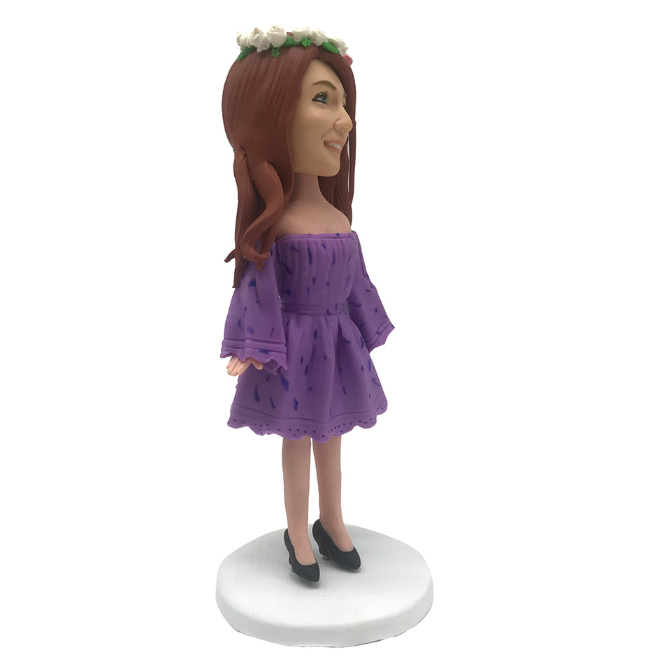 Purple Skirt Lady Bobblehead
