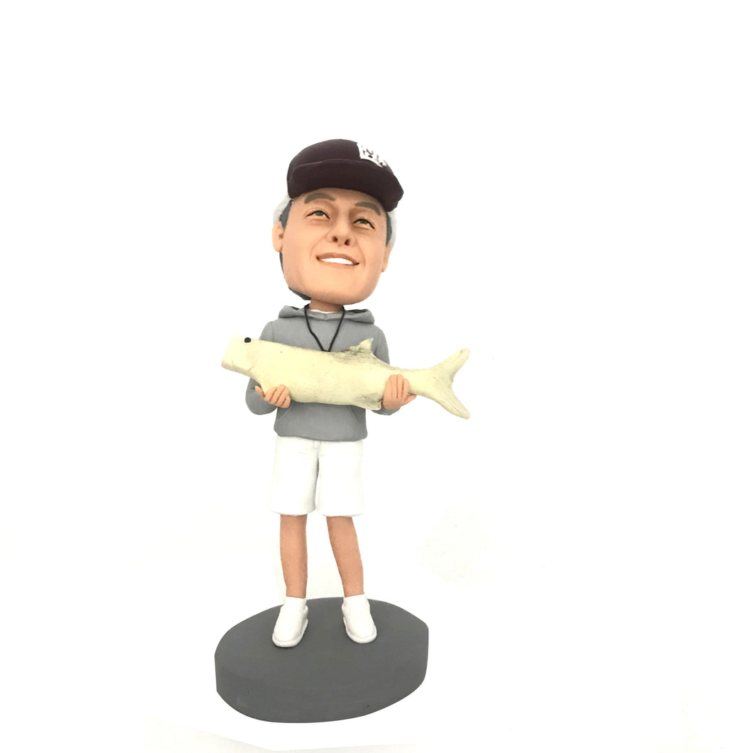 Holding A Big Fish Fishing Man Bobblehead