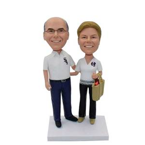 Retired Couple With Shopping Bags Custom Figure Bobblehead