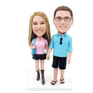 Sweet Hand in Hand Going Shopping Couple Custom Figure Bobblehead