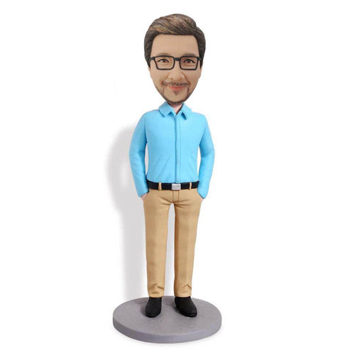 Light Blue Shirt Business Man Bobblehead