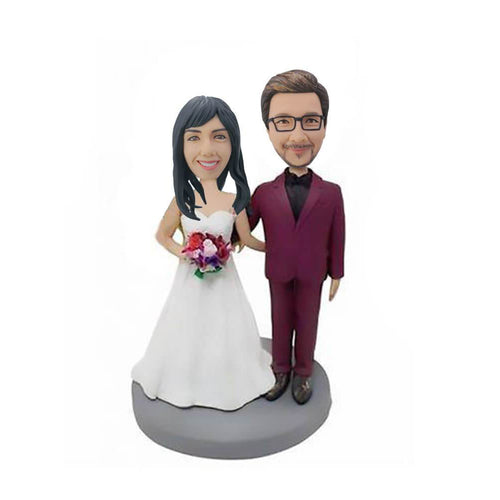 Dark Red Suit Bridegroom couple bobblehead