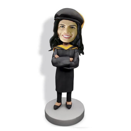 Black Hat Crossed Arms Graduation Bobblehead