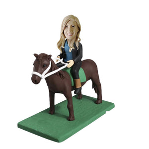 Horse riding bobblehead
