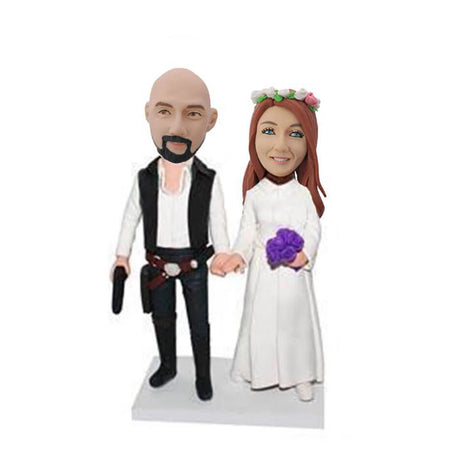 Leia & Han Star War Couple Bobblehead