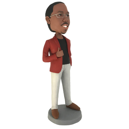 Man in dark red leather coat bobblehead