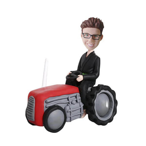 Boy riding a Tractor Custom Bobblehead