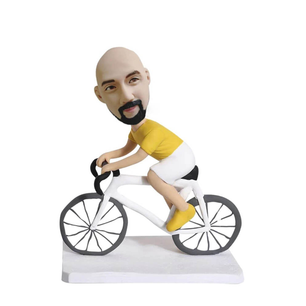 Biker ride a bike bobblehead