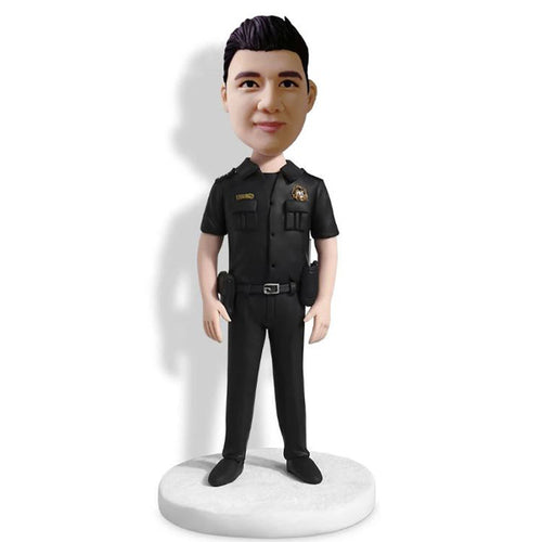 Male Police With Black Uniform Bobblehead