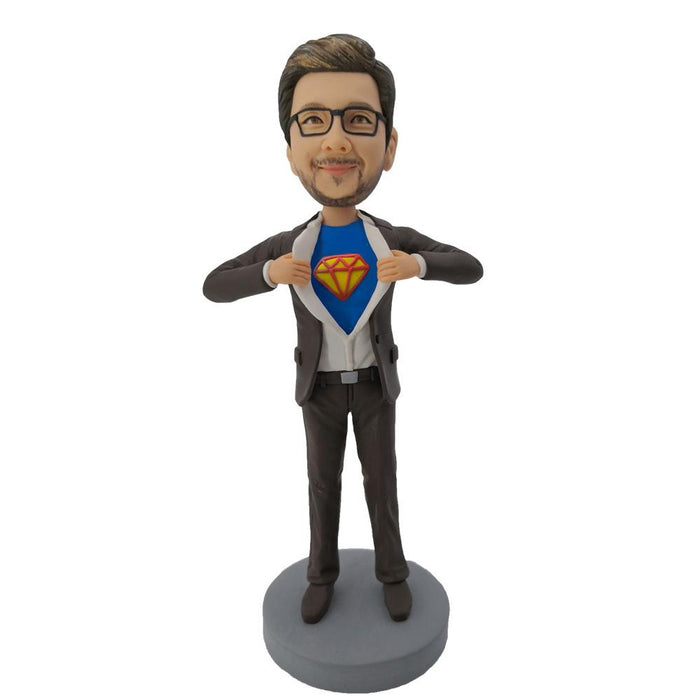 #3 Gray Coat Superhero Bobblehead