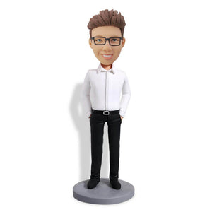 White Shirt Handsome Man Bobblehead
