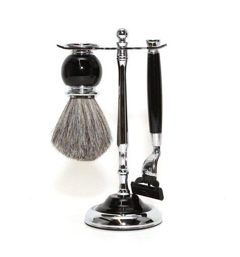 3pc Shave - Black Mach3, Badger, Sta
