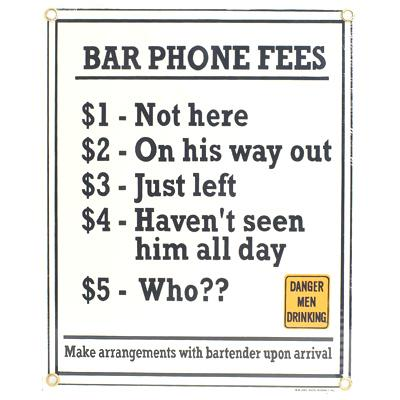 Bar Phone Fees Sign