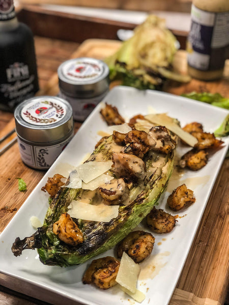 Grilled Romaine with BBQ Shrimp | Recipeish | Gustus Vitae