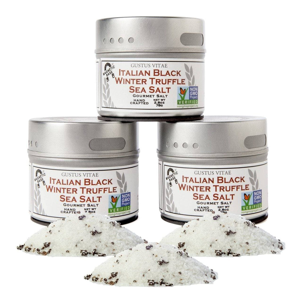 Black Truffle Sea Salt Collection - 3 Tins Collections & Gift Sets Gustus Vitae