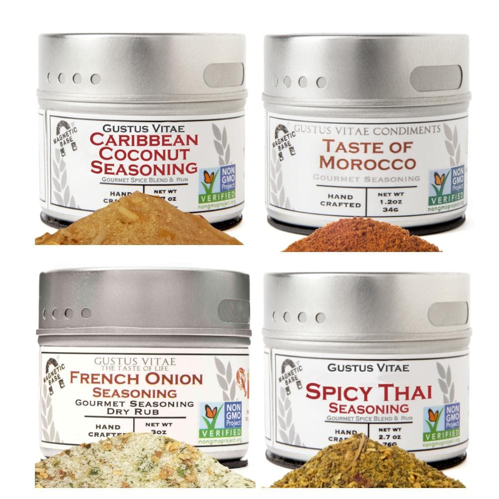 Deluxe Cooking & Entertaining Seasoning & Salts - 4 Tins Collections & Gift Sets Gustus Vitae