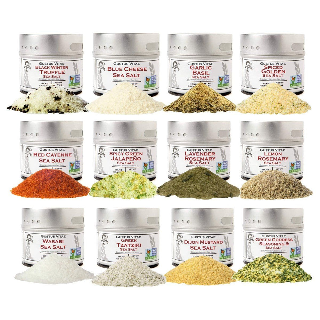 Luxury Infused Sea Salts Gift Set of 12 Gustus Vitae