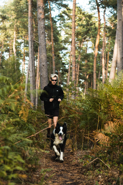 running in the forest with my dog