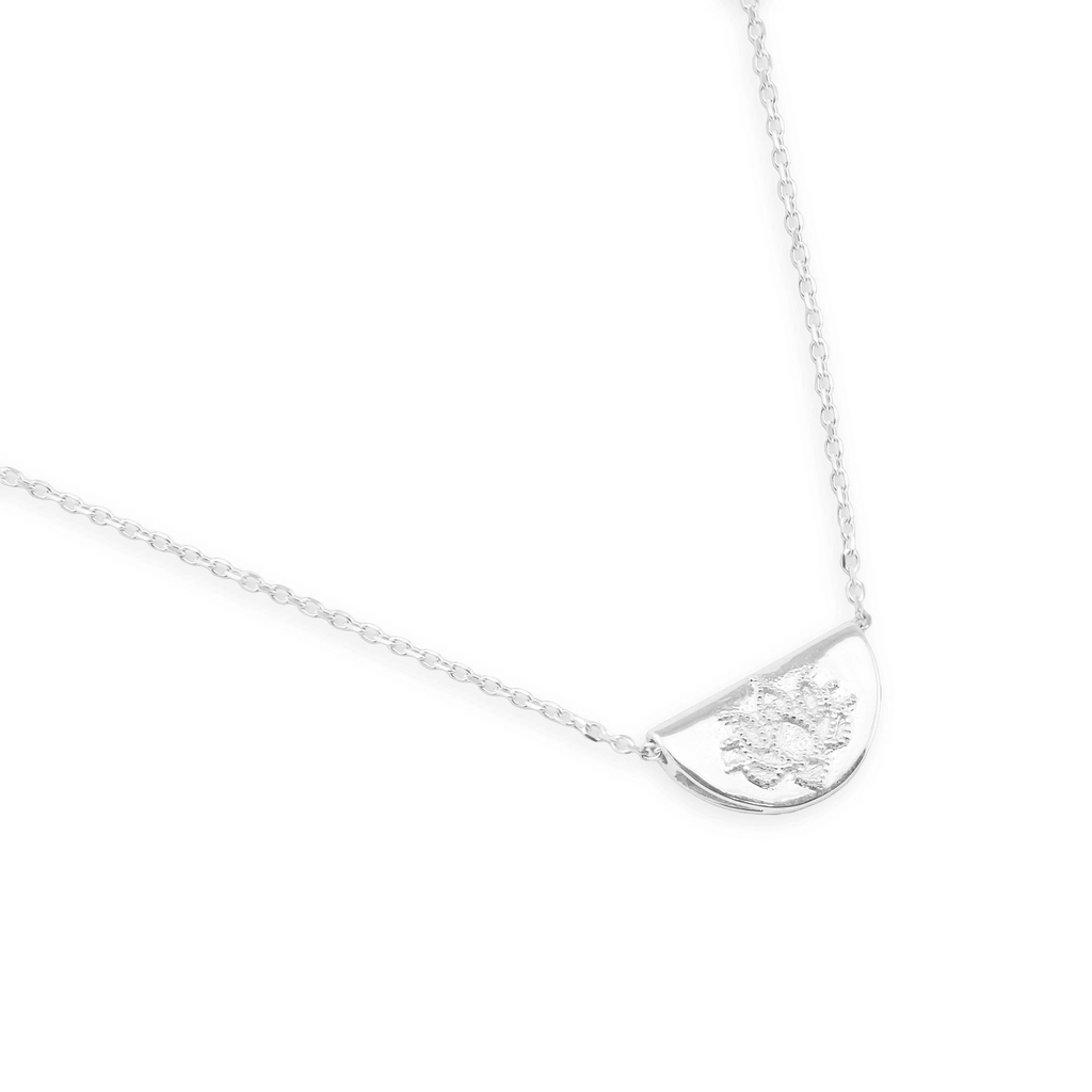 By Charlotte 14K White Gold Mini Lotus Necklace