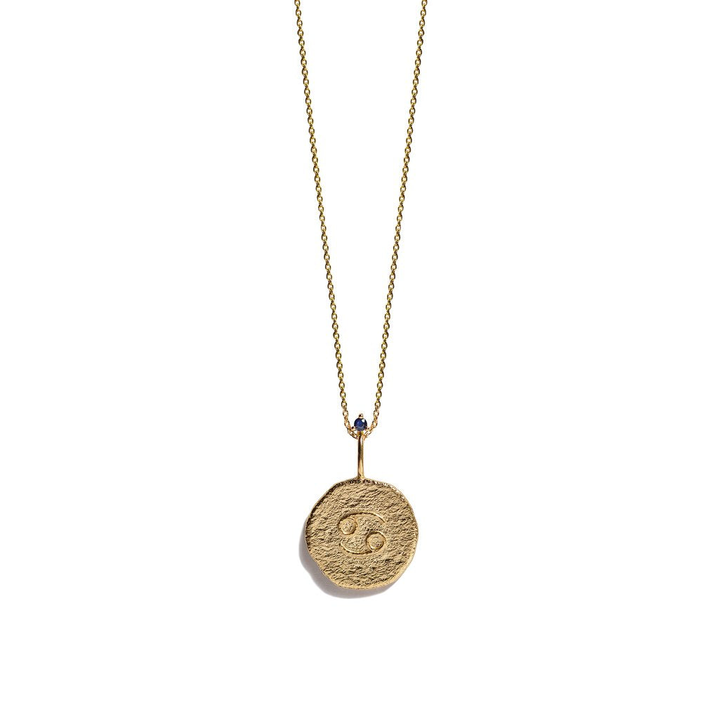 CANCER, The Gold Zodiac Necklace By Aletheia & Phos
