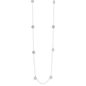 Textured Disc Necklace - Silver