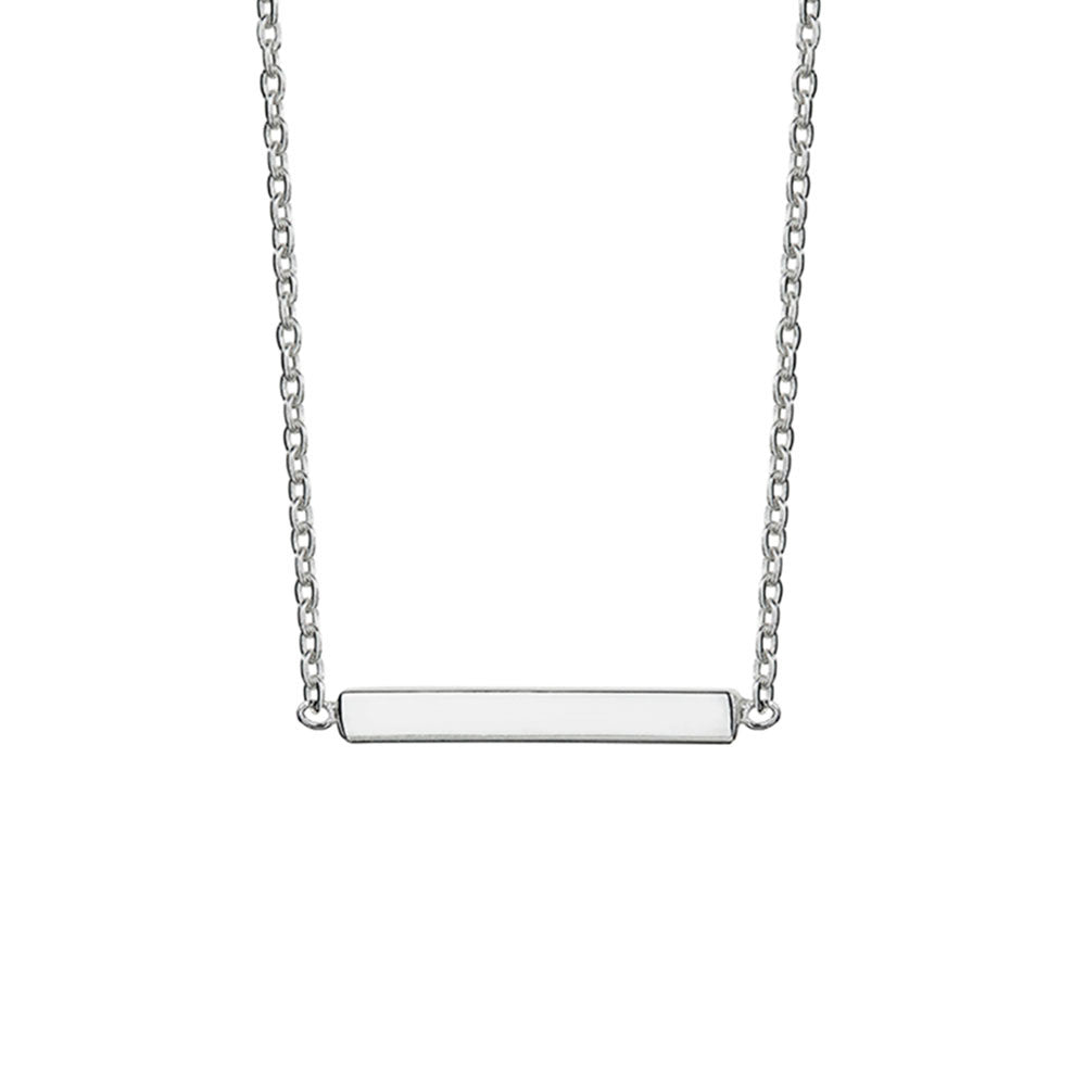 Mini Bar Pendant Necklace, Silver