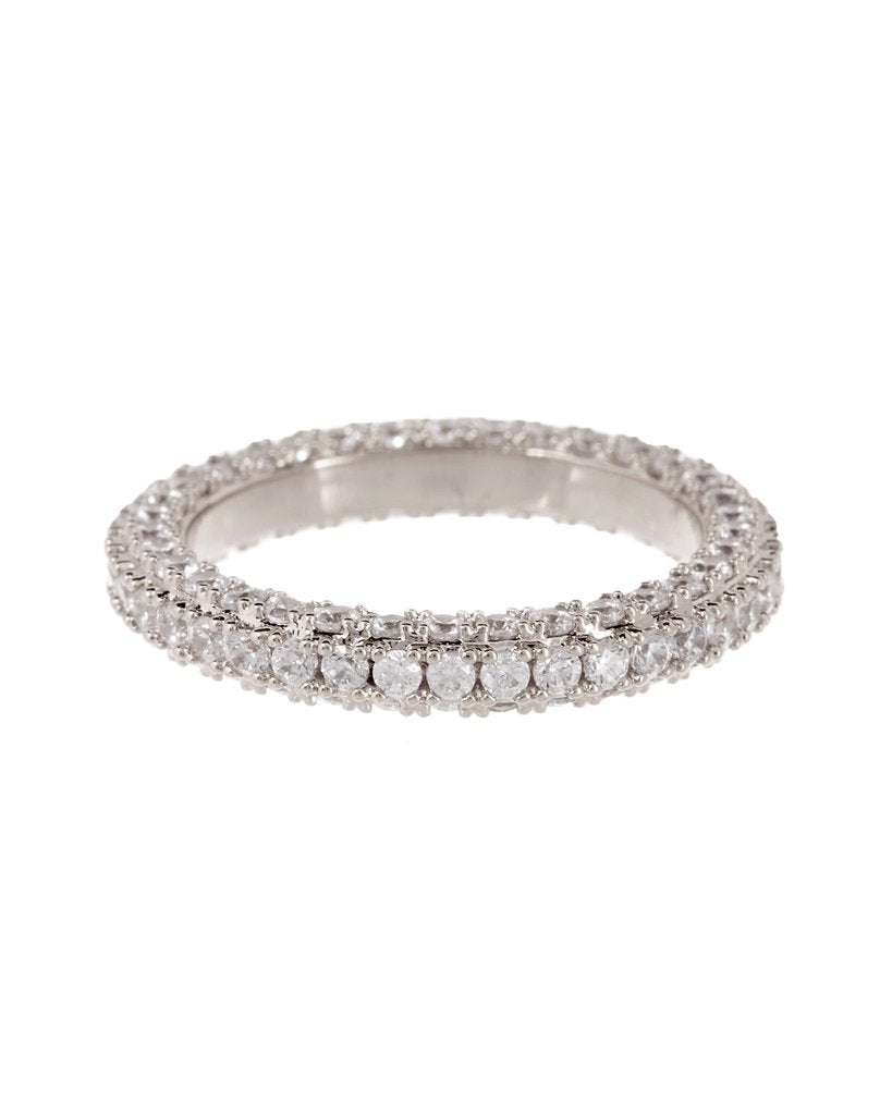 Luv Aj Triple Pave Band Ring, Silver