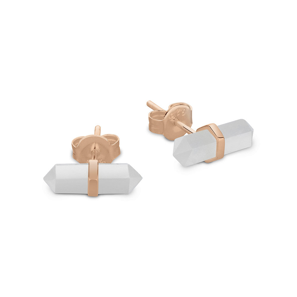 Clear Quartz Crystal Studs, Rose Gold